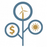 clean energy icons and dollar symbol